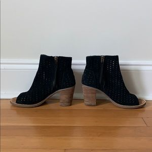 Toms Black Suede Cut out Booties